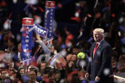 onfetti and balloons fall during celebrations after Republican presidential candidate Donald Trump's acceptance speech on the final day of the Republican National Convention in Cleveland, Thursday, July 21, 2016. (AP Photo/Matt Rourke)