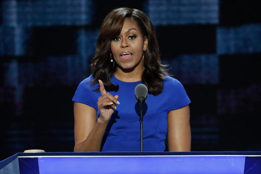 First Lady Michelle Obama speaks during the first day of the Democratic National Convention in Philadelphia , Monday, July 25, 2016. (AP Photo/J. Scott Applewhite)