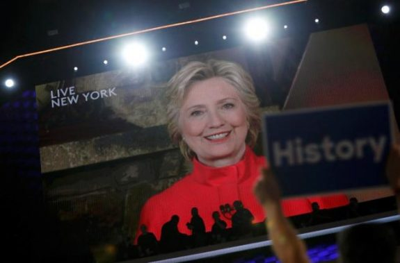 Democratic presidential nominee Hillary Clinton addresses the Democratic National Convention via a live video feed from New York during the second night at the Democratic National Convention in Philadelphia, Pennsylvania, U.S. July 26, 2016. REUTERS/Mark Kauzlarich