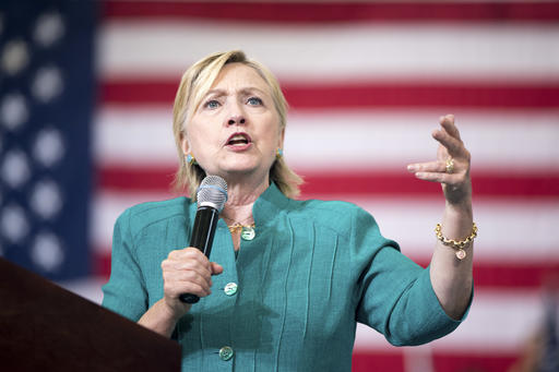 Democratic presidential candidate Hillary Clinton speaks at a rally at Abraham Lincoln High School, in Des Moines, Iowa, Wednesday, Aug. 10, 2016. (AP Photo/Andrew Harnik)