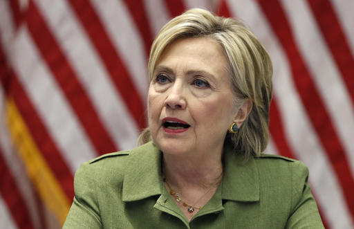 Democratic presidential candidate Hillary Clinton talks with media as she meets with law enforcement leaders at John Jay College of Criminal Justice in New York, Thursday, Aug. 18, 2016. (AP Photo/Carolyn Kaster)