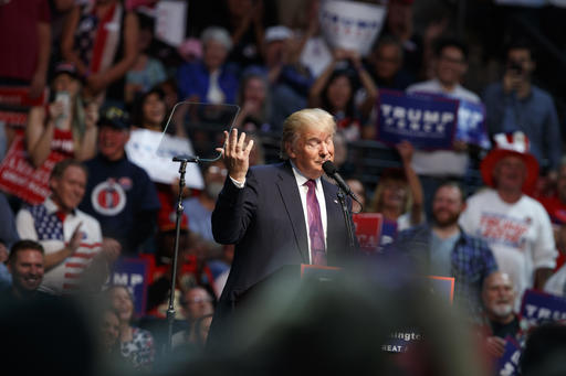 Republican presidential candidate Donald Trump speaks during a campaign rally at Xfinity Arena of Everett, Tuesday, Aug. 30, 2016, in Everett, Wash. (AP Photo/Evan Vucci)