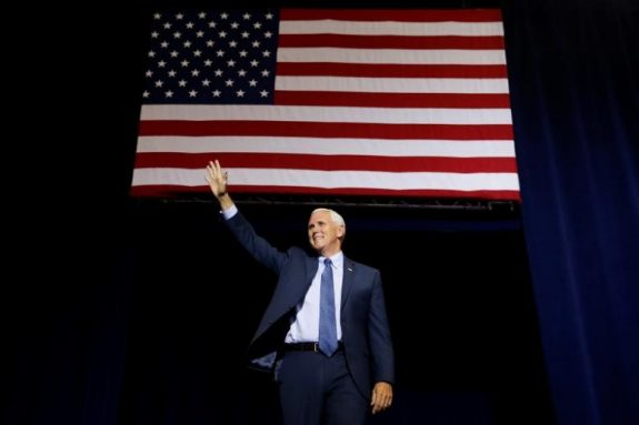 Republican vice presidential nominee Mike Pence speaks at a campaign rally in Phoenix, Arizona, U.S., August 31, 2016.   REUTERS/Carlo Allegri
