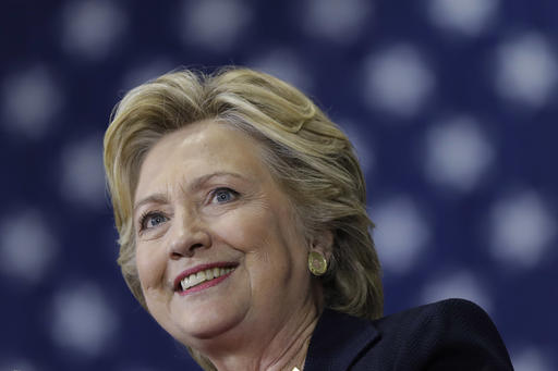 Democratic presidential candidate Hillary Clinton speaks during a campaign stop at Wake Technical Community College in Raleigh, N.C., Tuesday, Sept. 27, 2016. (AP Photo/Matt Rourke)
