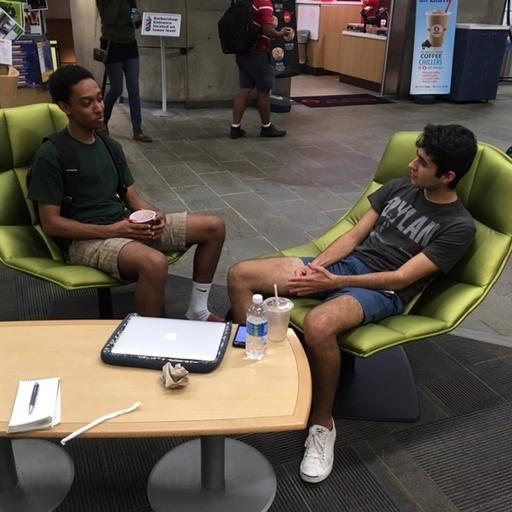 In this photo taken Sept. 30, 2016, Duke University students Paulos Muruts, left, and Ben Ezroni, talk in Durham, N.C. They say they aren't pleased with their choices in the 2016 presidential election. Ezroni, a New York native, says he will vote for Trump but finds many of his statements offensive. Muruts, a North Carolina native, says he would choose Clinton, but may need to be convinced to cast a ballot. Both say they like President Barack Obama on a personal level that neither Clinton nor Trump can match.  (AP Photo/Bill Barrow)