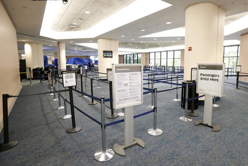 There are no lines to board flights at the Palm Beach International airport after flights in and out were cancelled in the afternoon as Hurricane Matthew advances, Thursday, Oct. 6, 2016, in West Palm Beach, Fla. Officials at Florida's major airports are monitoring conditions as Hurricane Matthew bears down on Florida. (AP Photo/Wilfredo Lee)