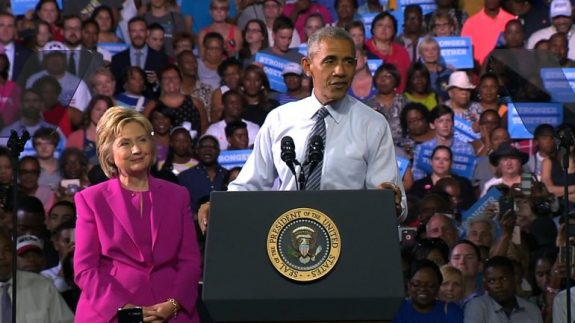 President Barack Obama campaigning with Democratic candidate for President Hillary Clinton.