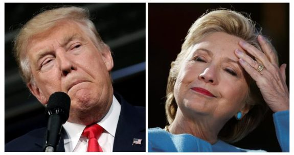 U.S. presidential candidates Donald Trump and Hillary Clinton attend campaign rallies in Ambridge, Pennsylvania, October 10, 2016 and Manchester, New Hampshire U.S., October 24, 2016 in a combination of file photos.    REUTERS/Mike Segar/Carlos Barria/Files