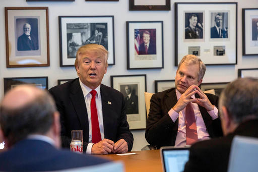 President-elect Donald Trump, left, andNew York Times Publisher Arthur Sulzberger Jr.,right, appear during a meeting with editors and reporters at The New York Times building, Tuesday, Nov. 22, 2016 in New York. (Hiroko Masuike/The New York Times via AP)
