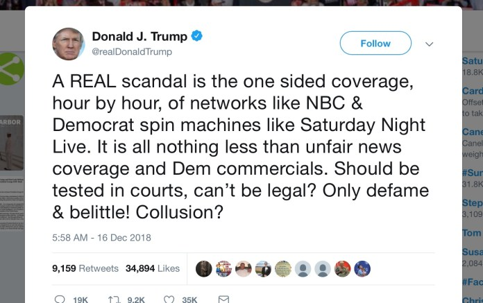 Trump Tweet 12-16-18-about-SNL-skit