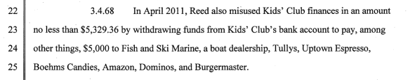 An example of a transaction Kids' Club says Reed made using the organization's funds