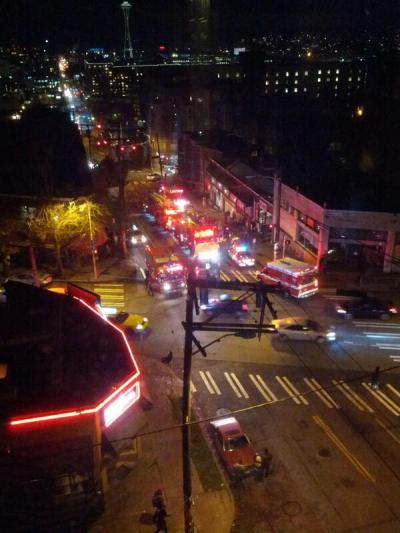 """Via @beacomedian: """"3 ambulances, 3 fire engines, 3 squad cars, 1 person on the ground"""""""