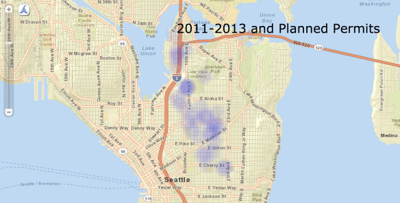 Capitol Hill townhouse and rowhouse permits -- 2011 to 2013 and beyond (Source: Seattle DPD)