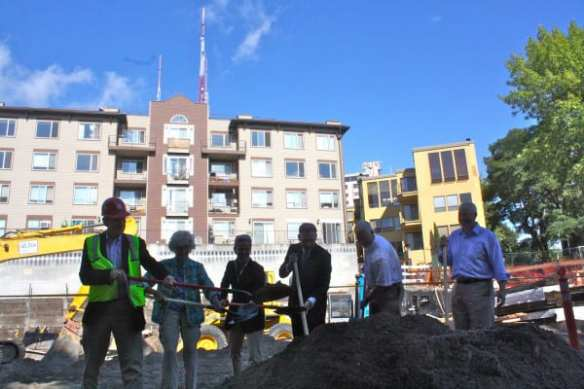 McGinn dug in as the Bullitt Center broke ground at 15th and Madison in 2011...