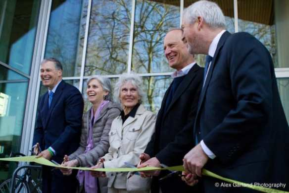 And he was there with Harriet Bullitt as she cut the ribbon in 2013 (Images: CHS)