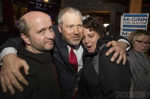 McGinn consoling supporters on Election Night 2013 (Image: CHS)
