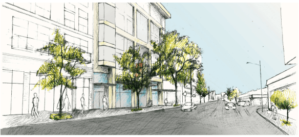 Architect's rendering of view down E Pike