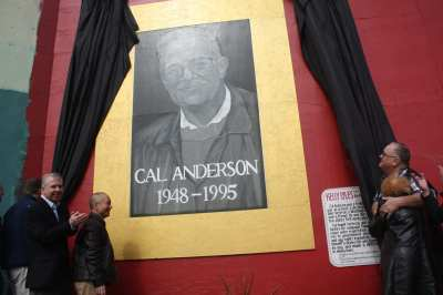 The 2012 unveiling of Cal Anderson's portrait on the Sound Transit construction wall