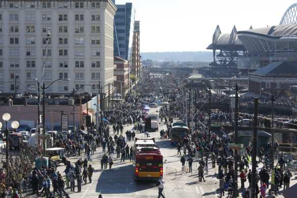The aftermath on 4th Ave as the parade spilled into the football stadium and parade-goers spilled out of Pioneer Square (Image: CHS)