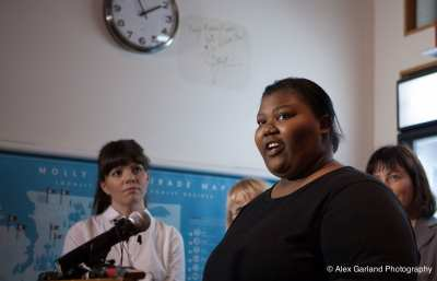Martina Phelps talks about being a low wage worker at McDonald's. (Photo: Alex Garland for CHS)