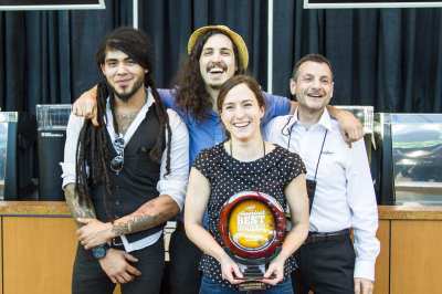 Virrey and Weaver on left at the Slate crew after winning Americas Best Coffeehouse - Seatte (Photo: Americas Best Coffeehouse