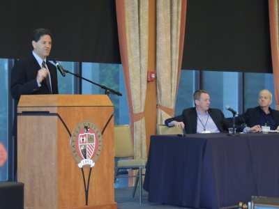 Venture capitalist Nick Hanauer speaks on the symposium's opening panel with labor leader David Rolf (Photo: CHS)