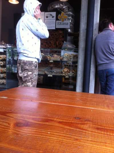 Mack spotting at 12th Ave's Eltana Bagels this weekend -- thanks tipster!