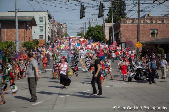 A few thousand marchers were estimated to have made their way downtown across First Hill via Jackson, Boren and Madison Thursday afternoon (Image: CHS)