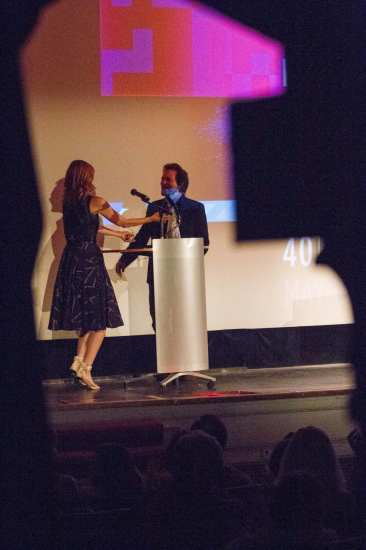 2014 SIFF honoree is greeted by presenter Eddie Vedder as the popular film festival returned for another year at the Egyptian (Image courtesy a CHS reader!)