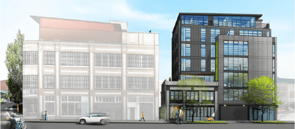 The Baker Linen building appears in this rendering of the new Chophouse Row project with a view from 11th Ave. Chophouse will also include a dairy and ice cream shop and a Bar Ferd'nand sibling in its mix.
