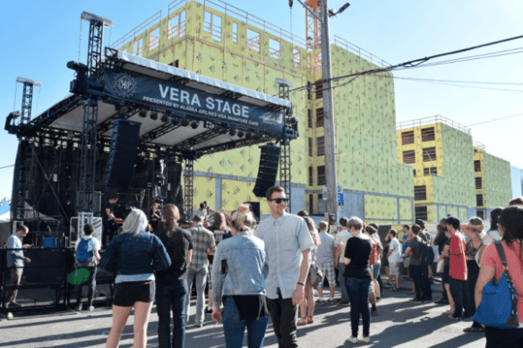 The Vera Stage is bigger and better this year -- and has a telling new view in the background (Image: CHS intern Rayna Stackhouse for CHS)