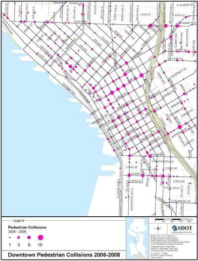 This map from a 2010 SDOT study showed the dangerous conditions for pedestrians around 9th and James