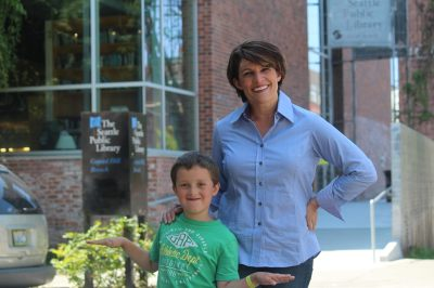 Alison and son Dashiell outside the Capitol Hill library (Image courtesy Alison Holcomb)