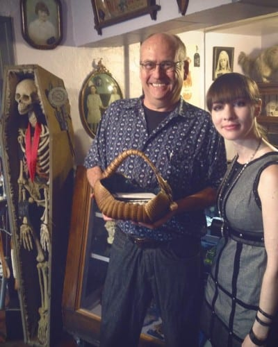 """From Nevertold via Facebook: """"Ladies and gentlemen, today we met the master of each day's fresh hell and feeder of ducks, Mark Pahlow... Archie McPhee himself and in the flesh, graced our little odditorium this afternoon and walked out with one freshly purchased armadillo picnic basket."""""""