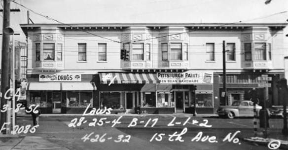 Professional Permanents hair salon, seen here to the right in 1950, was part of the 85 years of beauty in the storefront Salon Ciba called home -- for more 15th Ave E before and after, check out octopup.org.