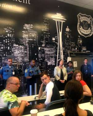 Chief O'Toole and SPD brass listen with intent (Image: CHS)
