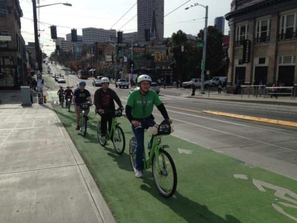 UPDATE: The Capitol Hill rollout traveled from Broadway and Harrison up to Volunteer Park and back down to Cal Anderson with a cruise on the Broadway Bikeway in between (Images: CHS)