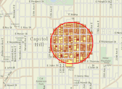 A 1,000 ft buffer from Burke's proposed location as shown by the King County parcel viewer.