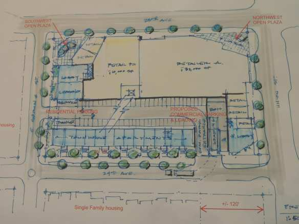 Architect Brian Runberg's speculative  layout plan for a new development at MidTown Center (Photo: CHS)