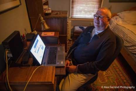 Bob Knudson (aka Calhoun) at home in his CHS comment station.
