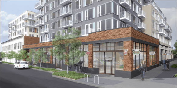 An artist rendering of how the old Madison Park Greetings building Erickson's project will call home is being integrated with new construction