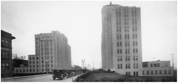 Harborview Hall, on the left, in 1935.