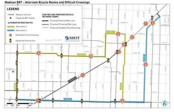 SDOT planners are also proposing two bicycle routes around the BRT corridor