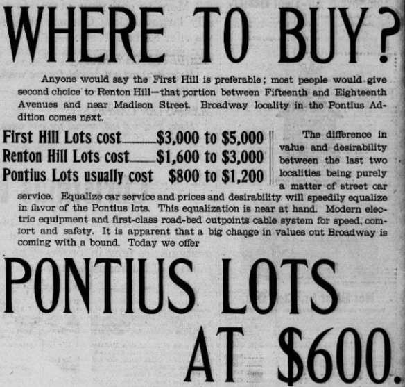 Broadway was touted as Seattle's #3 residential neighborhood after First Hill and Renton Hill in this 1899 ad (Seattle P-I, Chronicling America)