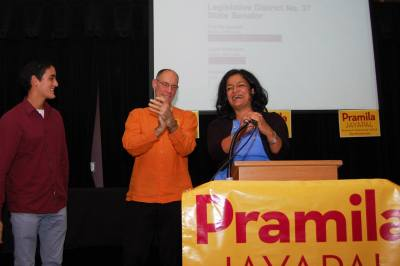 Jayapal celebrates on last November's Election Night (Image: Pramila for State Senate)
