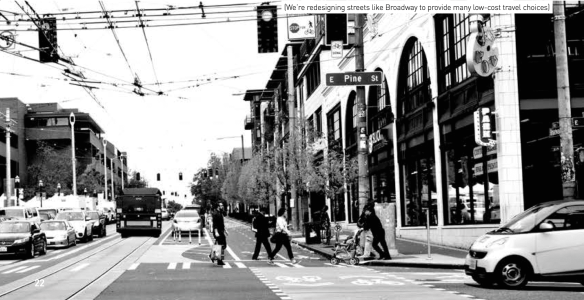 """We're redesigning streets like Broadway to provide many low-cost travel choices,"" Mayor Murray's plan promises"