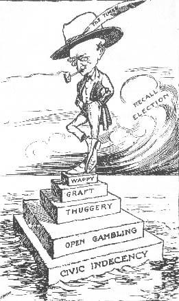 Hiram Gill political cartoon from Jan 22 1911 Seattle PI, via Wikipedia.
