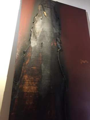 A fast-acting custodian put out the flames that singed this door of the Nova school principal's office (Image: CHS)
