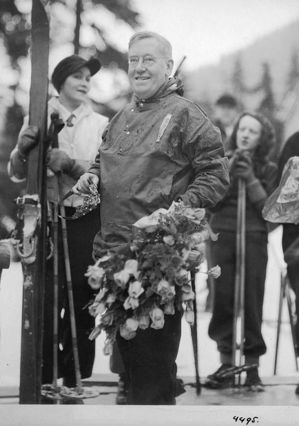 Mayor Dore at the opening of Snoqualmie Ski Park in 1935, a short-lived city park (Seattle Municipal Archives 31180)