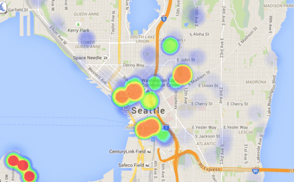 A heat map of parks exclusions. (Image: City of Seattle)
